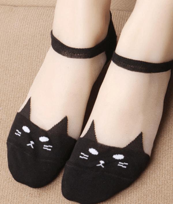 Șosete simpatice până la gleznă cu model de pisică din material transparent