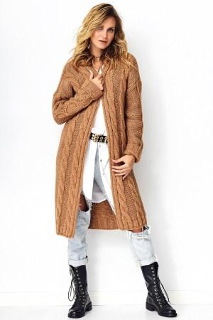 Cardigan dama lung maro din tricot