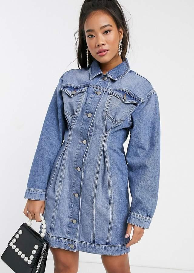 Jacheta lunga din denim tip rochie