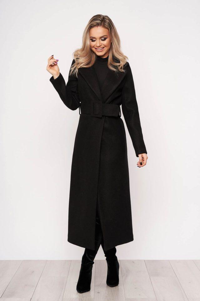 Palton negru casual elegant cu un croi cambrat fara captuseala