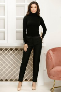 Pantaloni negri cu insertii fine argintii si cordon din satin