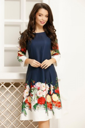 Rochie bleumarin lucioasa cu imprimeu floral colorat la baza