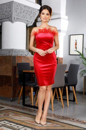 Rochie de ocazie eleganta conica midi rosie accesorizata cu pene