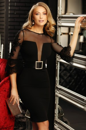 Rochie de ocazie eleganta midi neagra mulata cu aplicatii de dantela