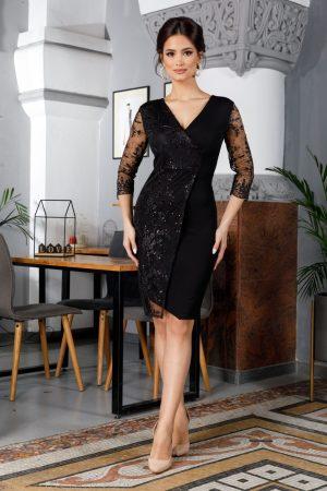 Rochie de ocazie eleganta neagra cu insertii din dantela cu decolteu in V