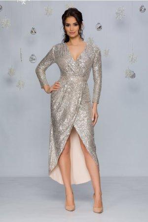 Rochie de ocazie eleganta petrecuta bej cu paiete argintii si decolteu in V