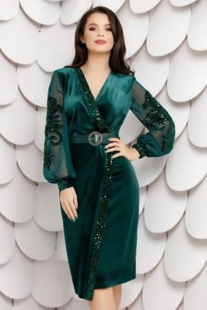 Rochie de ocazie eleganta verde din catifea mulata si insertii din paiete