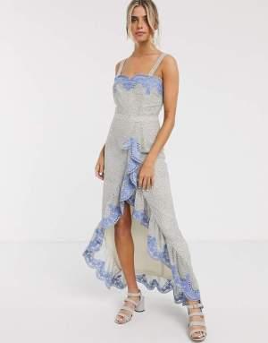 Rochie de seara eleganta asimetrica cu broderie albastra Asos