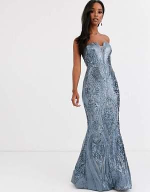 Rochie de seara eleganta bleu tip sirena din paiete