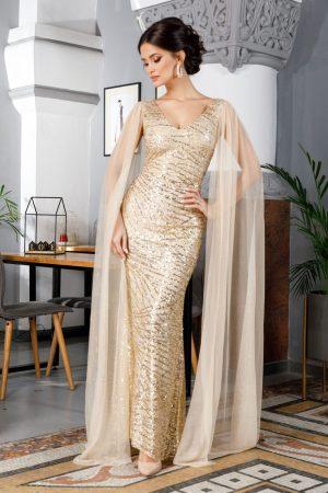 Rochie de seara eleganta lunga cu aplicatii din paiete si sclipici
