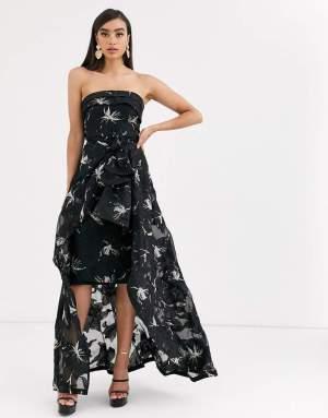 Rochie de seara neagra eleganta cu trena si imprimeu