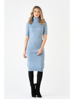 Rochie de zi bleu tricotata cu guler inalt si maneci scurte