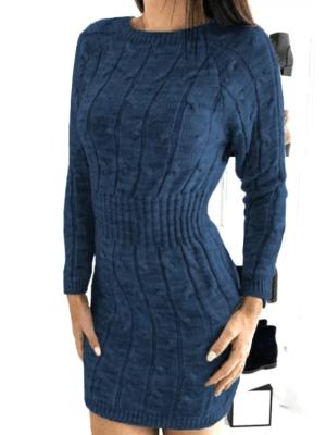 Rochie de zi bleumarin scurta din tricot