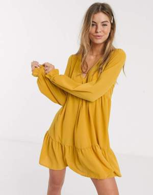 Rochie de zi galben mustar scurta cu volane