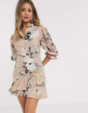 Rochie de zi scurta bej cu imprimeu floral colorat