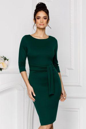 Rochie de zi verde midi cambrata cu maneci trei sferturi si cordon la talie