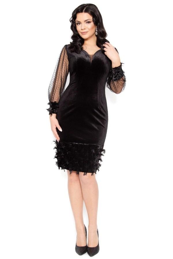 Rochie eleganta din catifea elastica neagra cu maneci lungi din tull