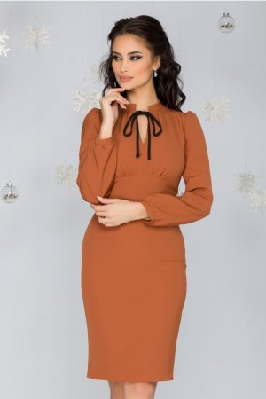 Rochie eleganta midi conica maro office cu guler tunica si maneci lungi