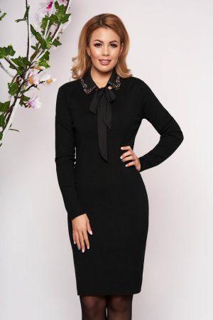 Rochie eleganta neagra midi tricotata tip creion cu maneci lungi