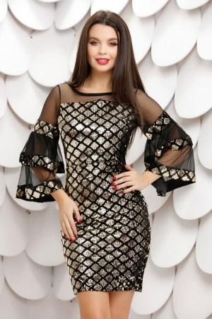Rochie eleganta scurta neagra mulata cu paiete aurii in forma de romburi