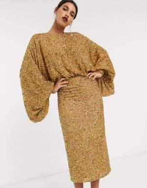 Rochie midi eleganta cu maneci clopot din paiete aurii stralucitoare