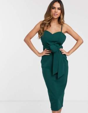 Rochie midi verde eleganta cu nod la talie