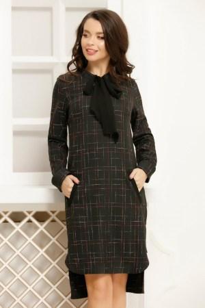 Rochie neagra asimetrica din stofa cu insertii colorate cu funda neagra din voal si buzunare frontale
