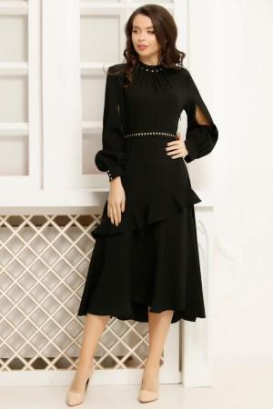 Rochie neagra cu maneci despicate si volan asimetric accesorizata cu curea in talie