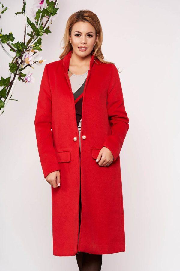 Trench rosu elegant lung din lana cu un croi drept cu buzunare false captusit pe interior