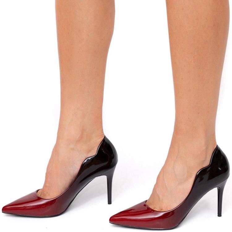 Pantofi dama in doua culori cu toc cui