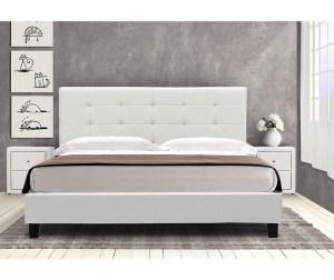 Pat dormitor alb tapitat 160x200 cm