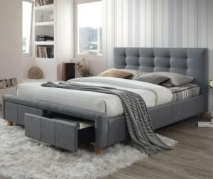 Pat dormitor bej tapitat si lada de depozitare 160x200 cm