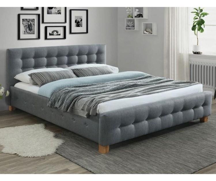 Pat dormitor gri tapitat Candace 160x200 cm