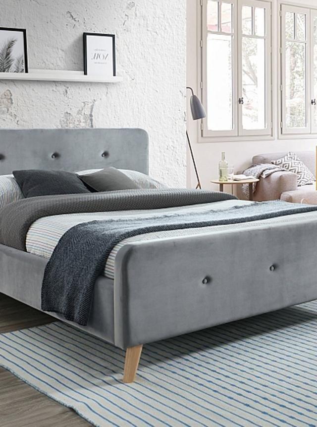 Pat dormitor gri tapitat Goteborg 160x200 cm