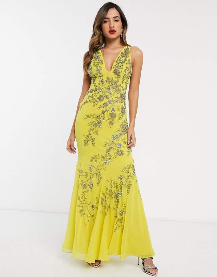 Rochie de seara galbena lunga eleganta tip sirena cu aplicatii florale