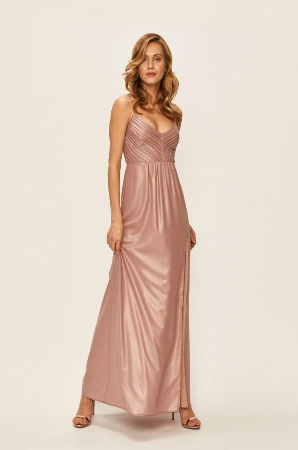 Rochie de seara lunga eleganta din material stralucitor si crapatura pe picior
