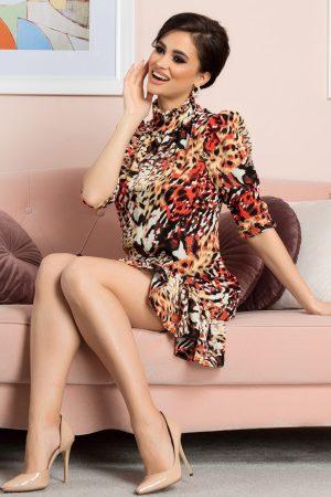 Rochie de zi din voal cu imprimeu si maneci trei sferturi