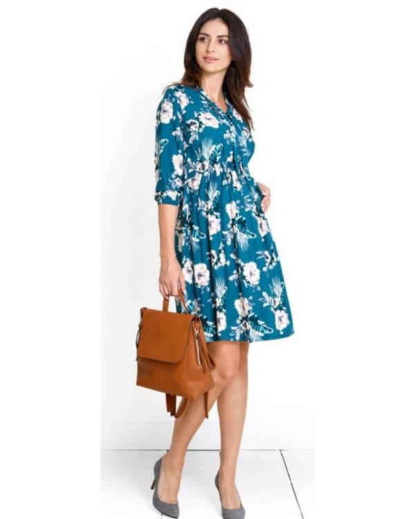 Rochie de zi scurta pentru gravide cu imprimeu floral