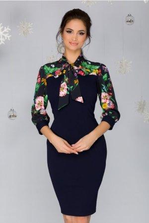 Rochie eleganta conica midi bleumarin cu imprimeu floral si cordon la gat