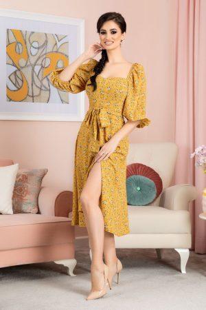 Rochie eleganta cu imprimeu floral cu maneci bufante