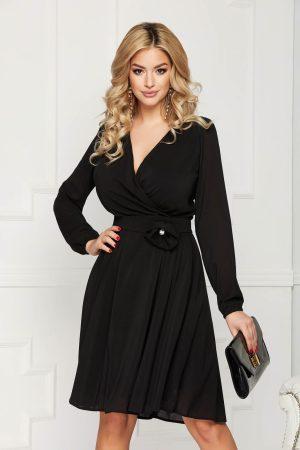 Rochie eleganta de ocazie neagra midi in clos cu maneci lungi si decolteu V