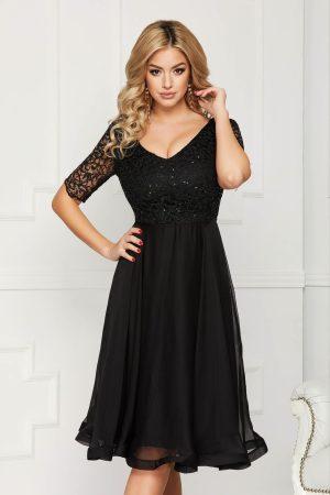 Rochie eleganta de ocazie neagra midi in clos din voal cu paiete