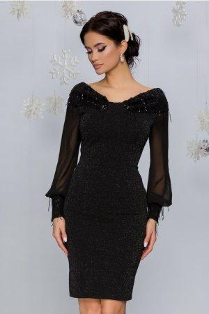 Rochie eleganta de ocazie scurta neagra cu paiete si insertii din fir lurex