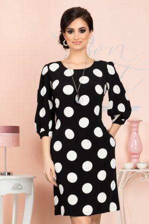 Rochie eleganta de zi midi neagra cu buline albe si maneci trei sferturi