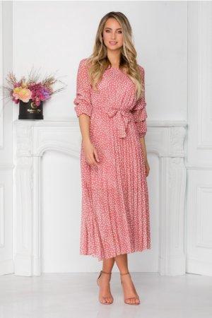 Rochie eleganta de zi midi roz cu buline si cordon la talie