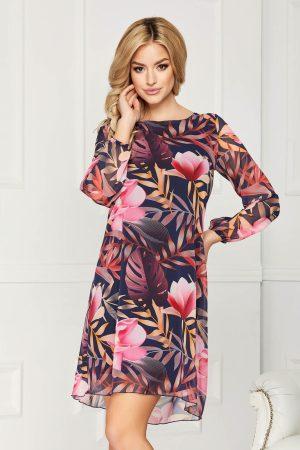 Rochie eleganta din voal cu imprimeu floral cu croi in a si cu maneci lungi