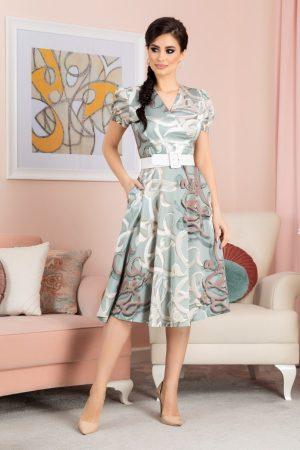 Rochie eleganta midi de zi din voal satinat cu imprimeu si decolteu in V