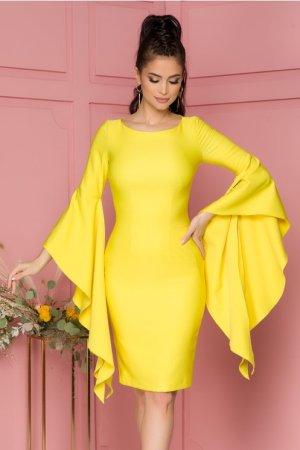 Rochie eleganta midi galbena conica cu maneci fantezie si decolteu rotund