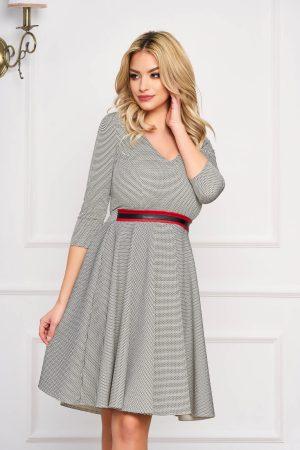 Rochie eleganta midi gri office in clos si curea din imitatie de piele