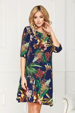 Rochie eleganta midi in clos din voal cu imprimeu floral decolteu rotund